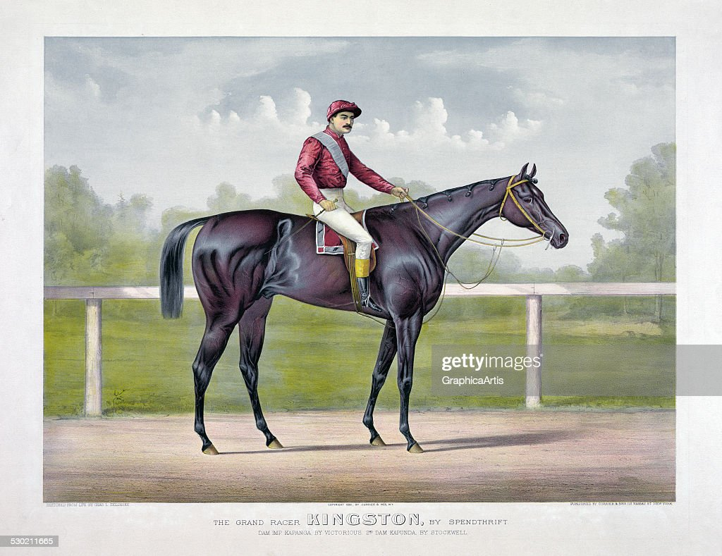 Vintage print of thoroughbred stallion 'The Grand Racer Kingston by Spendthrift' by Currier Ives 1891 Kingston was by Spendthrift out of Kapanga by...