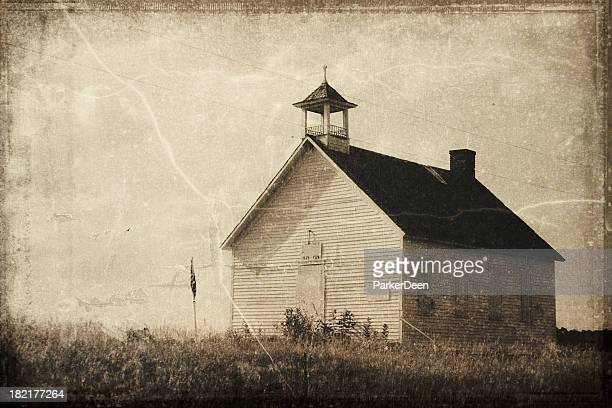 Vintage Processed One Room Schoolhouse
