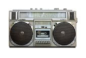Vintage Radio Cassette Recorder Boombox isolated on white
