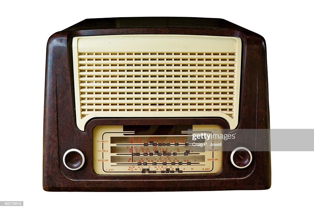 Vintage Radio Isolated on White with Clipping Path : Stock Photo