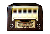 Vintage Radio Isolated on White with Clipping Path