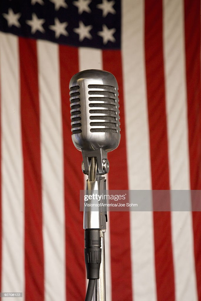 Vintage radio microphone from the 1940s : Stock Photo