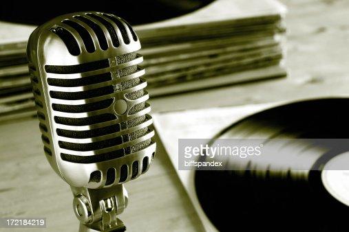 Vintage Radio Microphone with Vinyl Records