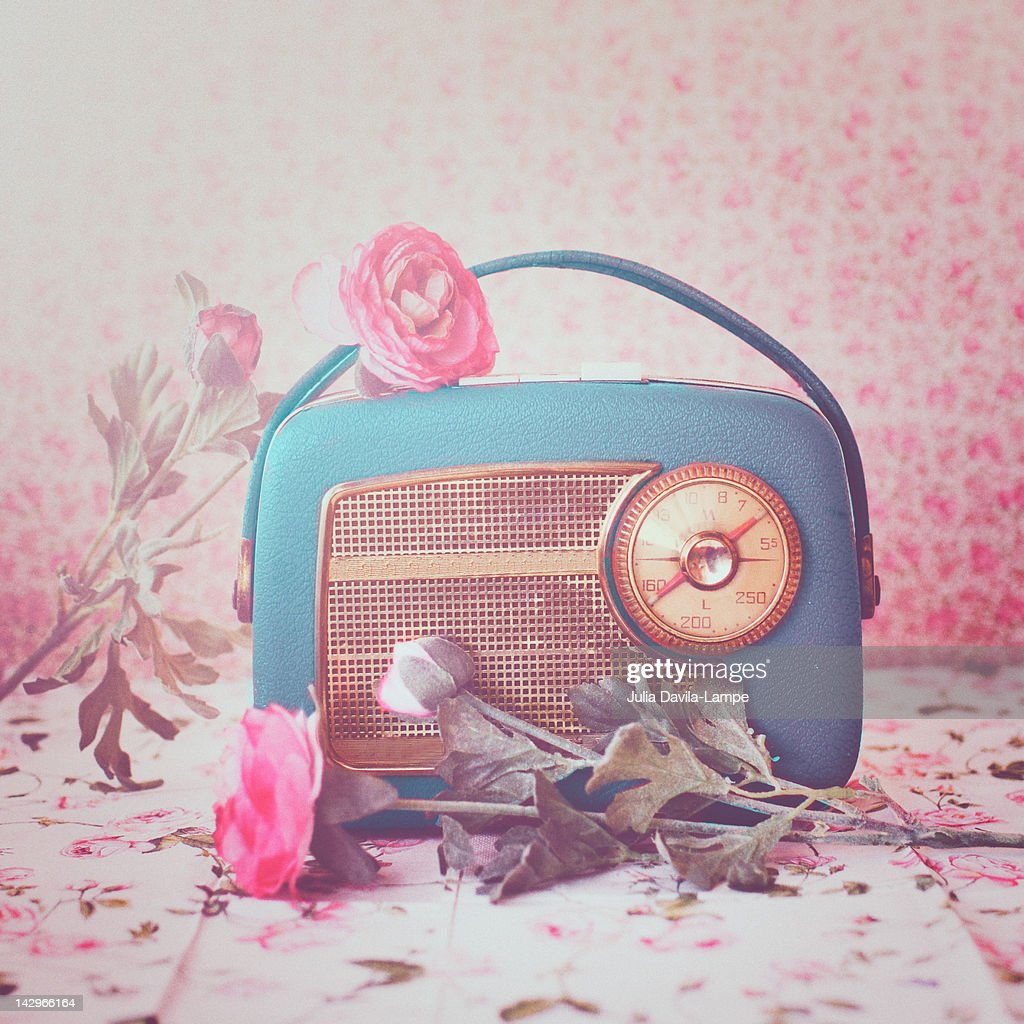 Vintage radio with pink flowers on table : Stock Photo