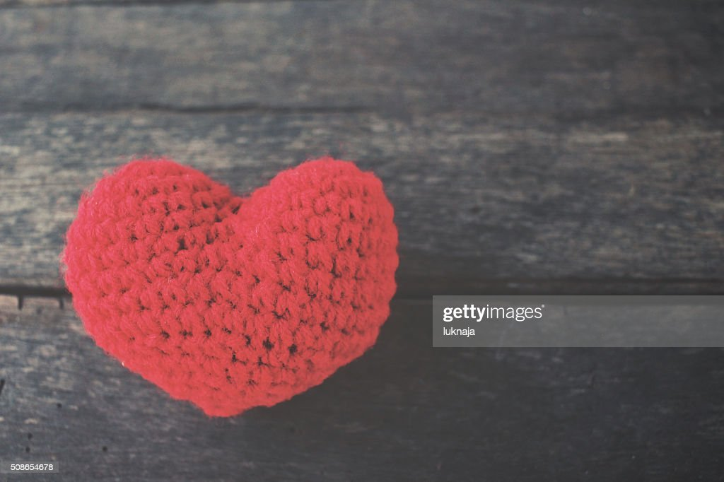 Vintage red heart shape : Stock Photo