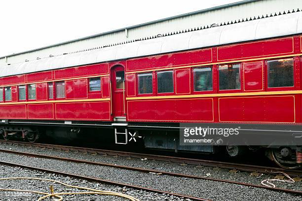 Vintage red train carriage at the station