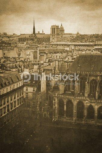 Vintage Retro Old Styled Paris Sepia Photography Stock Photo