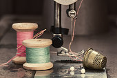 Vintage sewing thread on sewing machine