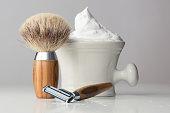 vintage wet Shaving Equipment on white Table