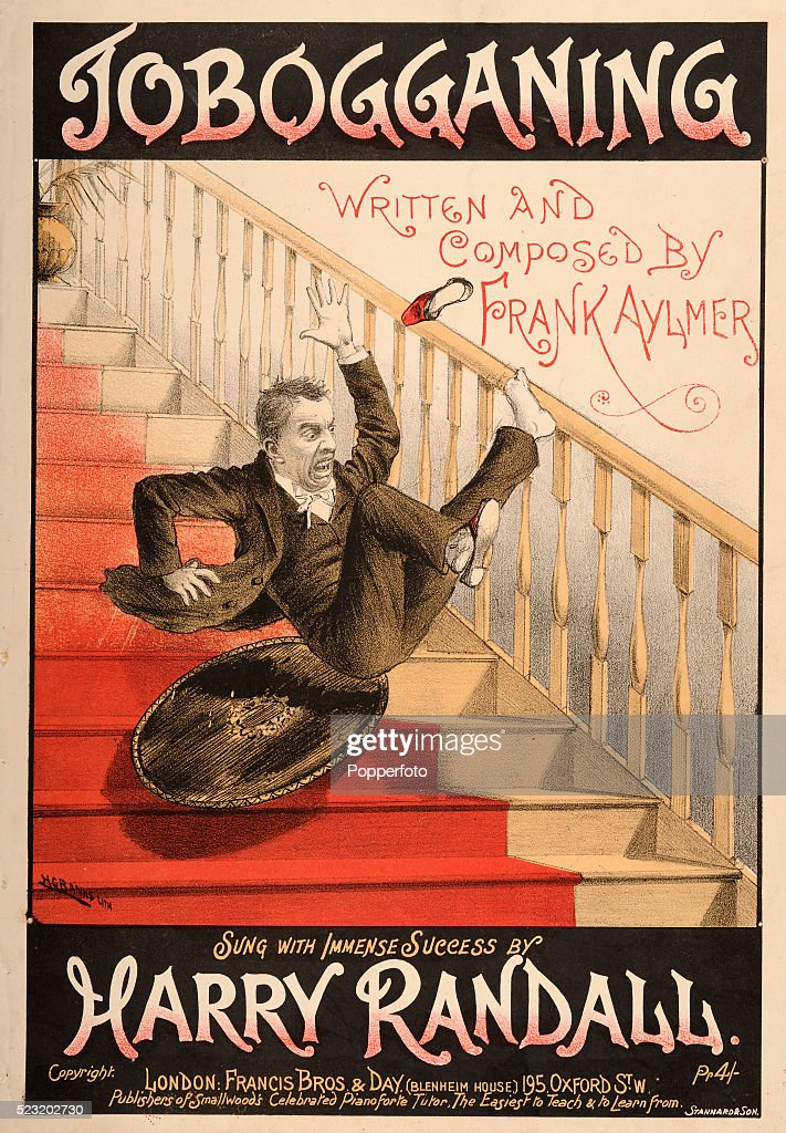 A vintage sheet music cover for 'Tobogganing' written and composed by Frank Aylmer for Harry Randall, featuring an illustration of a man sliding down a flight of stairs on a tea tray, published in London, circa 1900.