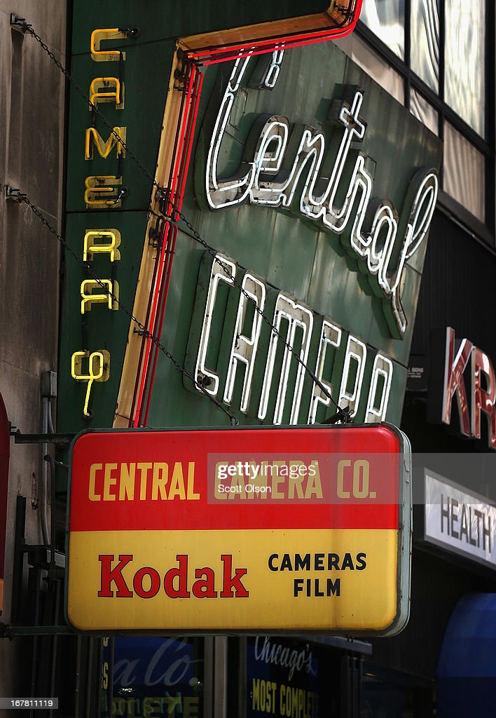 A vintage sign advertising Kodak film and cameras hangs outside Central Camera on April 30, 2013 in Chicago, Illinois. Eastman Kodak Co. has reached a deal to turn over the company's film business to U.K. Kodak Pension Plan to eliminate a $2.8 billion pension obligation. Kodak, which once had a 90 percent market share of U.S. film sales, filed for bankruptcy last year. Central Camera, founded in 1899, has been doing business from their current location in the Loop for 80 years.