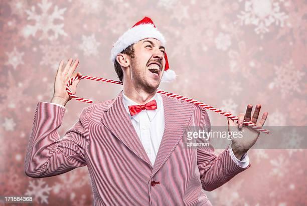 Canta Santa sombrero Vintage Holiday Chritsmas caña de hombre usando