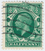 POLTAVA, UKRAINE - APRIL 21, 2019. Vintage stamp printed in Great Britain 1934 shows , King George V