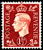 POLTAVA, UKRAINE - APRIL 21, 2019. Vintage stamp printed in Great Britain 1939 shows , King George VI