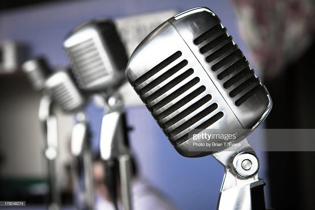 Vintage standing radio microphones