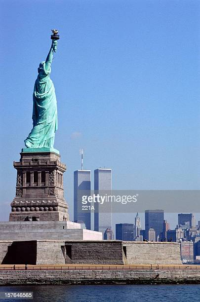 Vintage Statue of Liberty and World Trade Centre