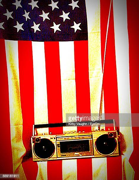 Vintage Stereo With American Flag