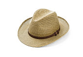 Vintage straw hat for man on white background, including clipping path