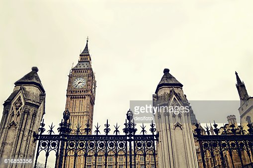 Vintage style photo of Big Ben Tower of London city : Stock Photo
