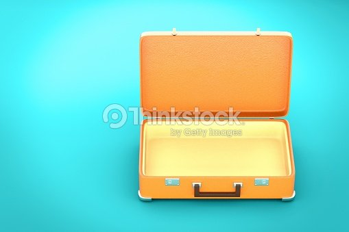 Vintage suitcase on blue background - 3d render : Stock Photo