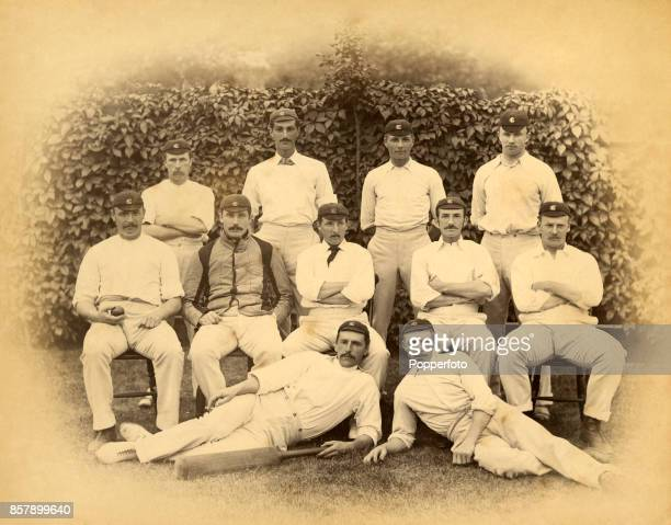A vintage team group photograph of the Surrey County Cricket Club prior to their match againt Nottinghamshire at the Oval in London circa August 1885...