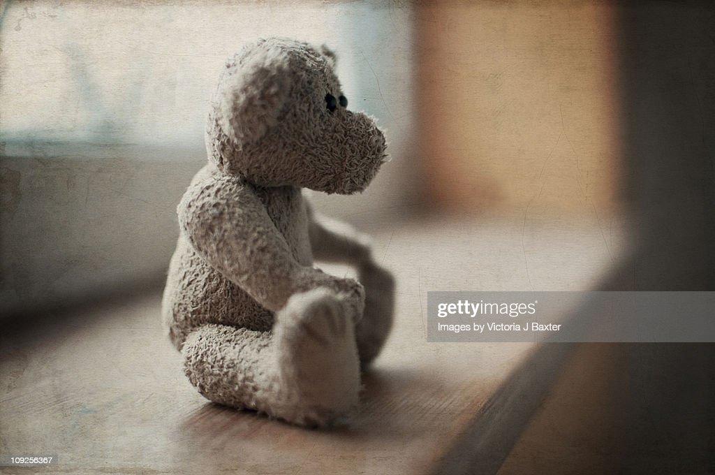 Vintage teddy bear childs toy window sill