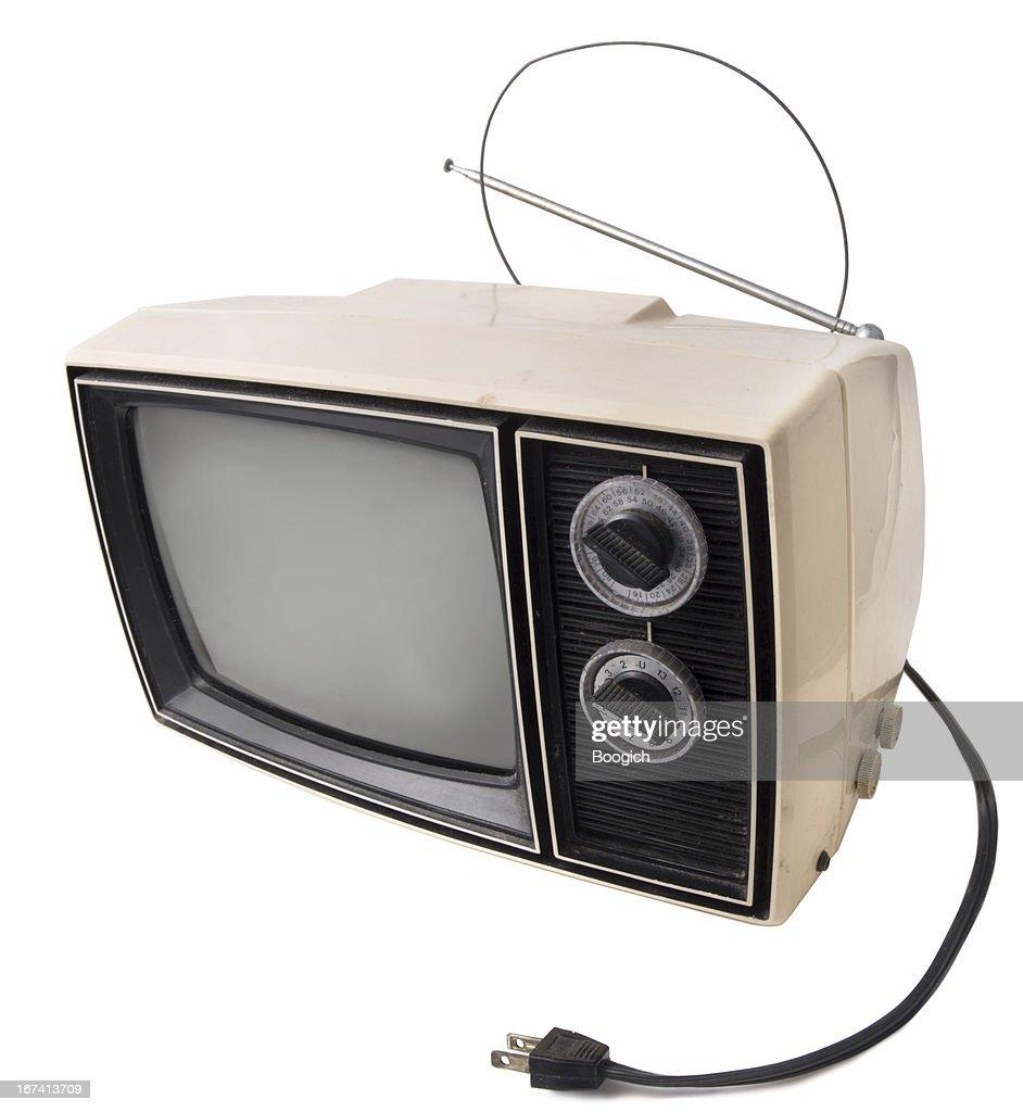 Vintage TV su bianco : Foto stock