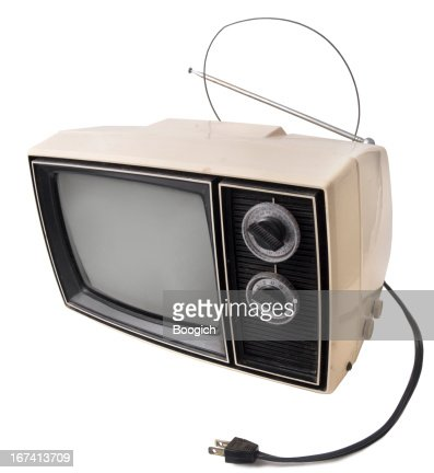 Vintage Television on White : Stock Photo