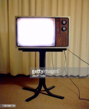 Vintage Television set  in Motel Room on stand