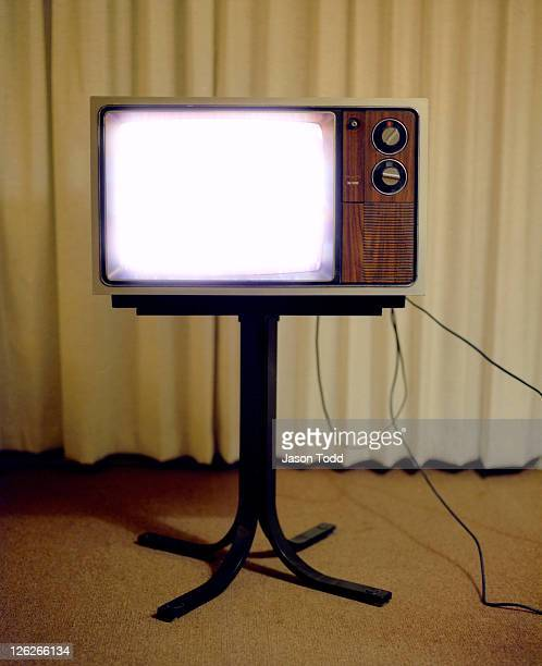 Vintage Television set  in Motel Room on stand