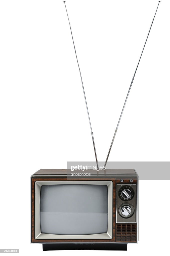 Vintage Television With Antenna : Stock Photo