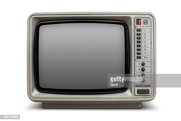 Vintage television with blank screen