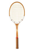 Retro wooden tennis racket isolated on white