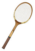 Old wooden tennis racket isolated on white background
