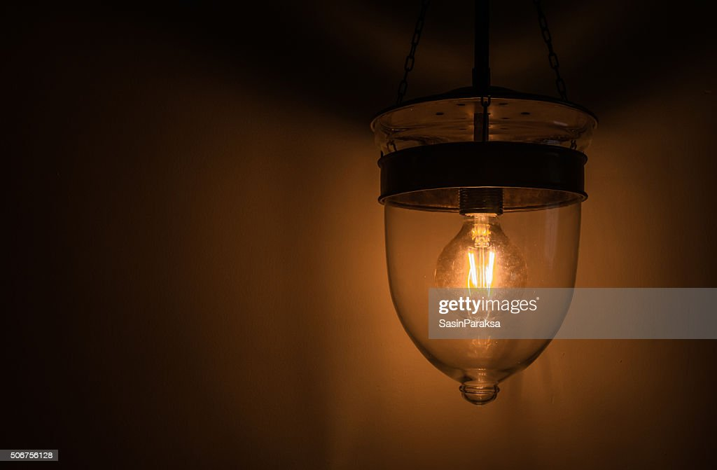 Vintage Tone, Old Retro Edison Light Bulb With Dim Light : Stock Photo