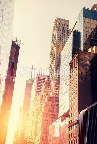 Couleur vintage photo de manhattan au coucher du soleil - Coucher du soleil new york ...
