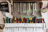 Closeup on a wall with old tools (screwdriver, keys and others) hanging on a wall in a garage. Tools series.