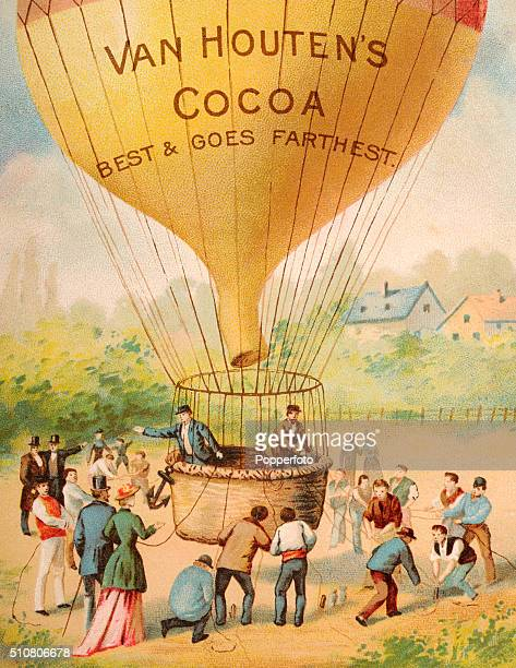 A vintage trade card advertising Van Houten's Cocoa and featuring preparations for a hotair balloon ascent circa 1890