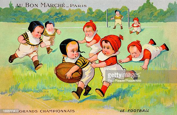 A vintage trade card featuring young children playing Rugby Football published in France circa 1900