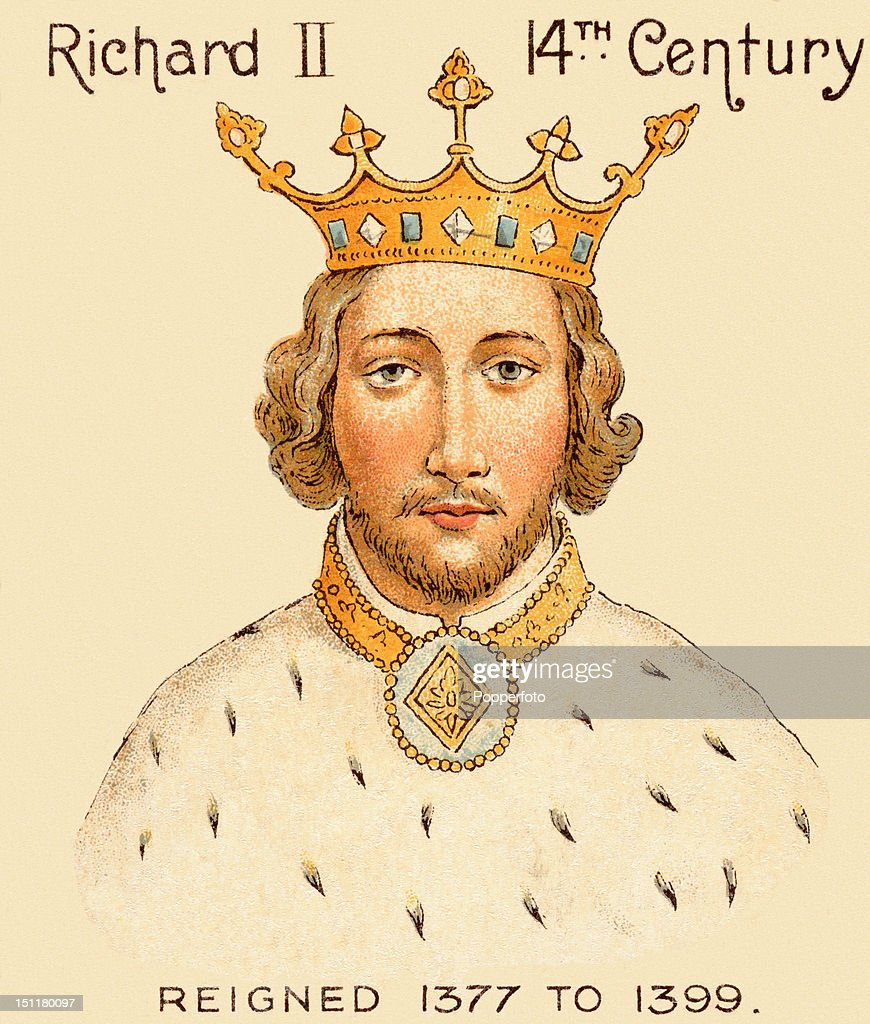Vintage trade card, with a chromolithograph portrait of King Richard II, issued by the Mazawattee Tea Company in 1901.