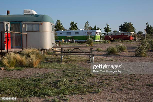 Vintage trailer camping at the El Cosmico campground in Marfa Texas in 2014