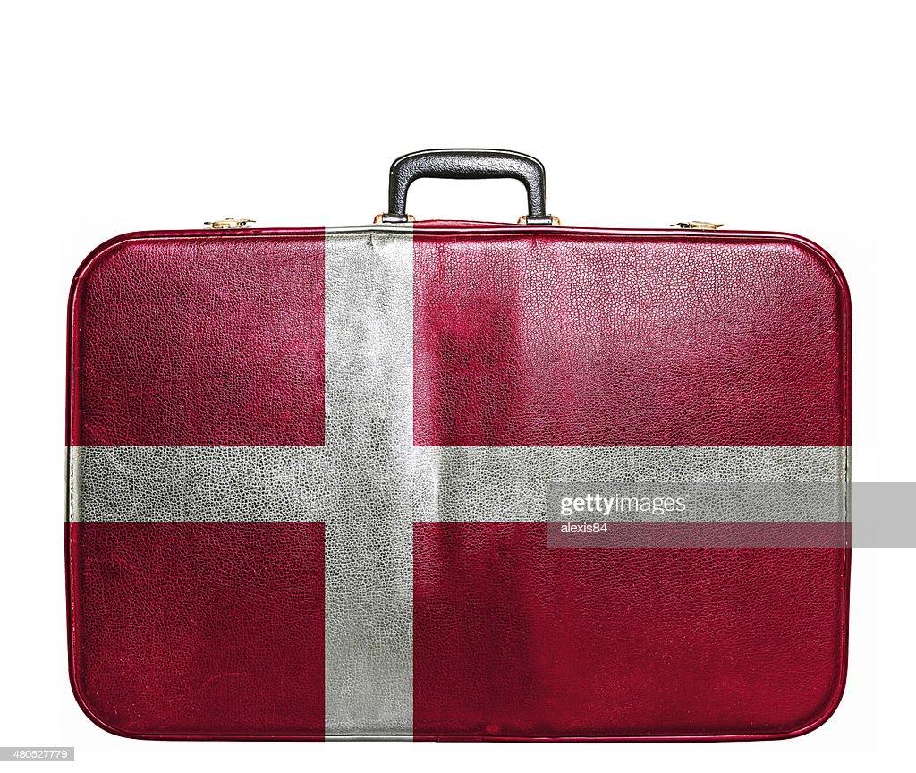 Vintage Reisetasche mit Flagge von Dänemark : Stock-Foto