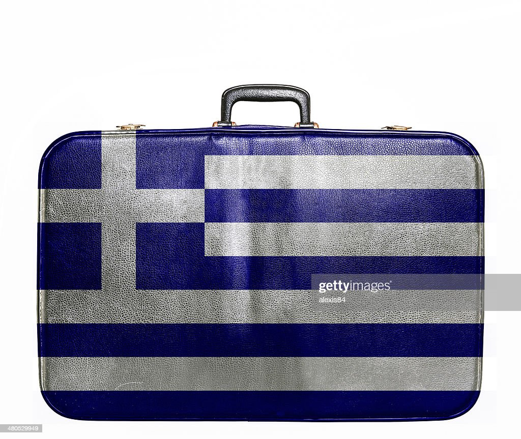 Vintage travel bag with flag of Greece : Stock Photo