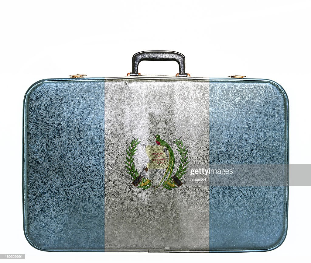 Vintage travel bag with flag of Guatemala : Stockfoto