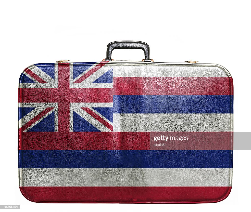 Vintage travel bag with flag of Hawaii : Stock Photo