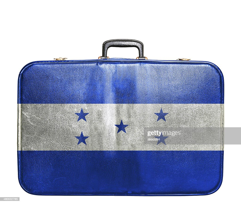 Vintage travel bag with flag of Honduras : Stock Photo