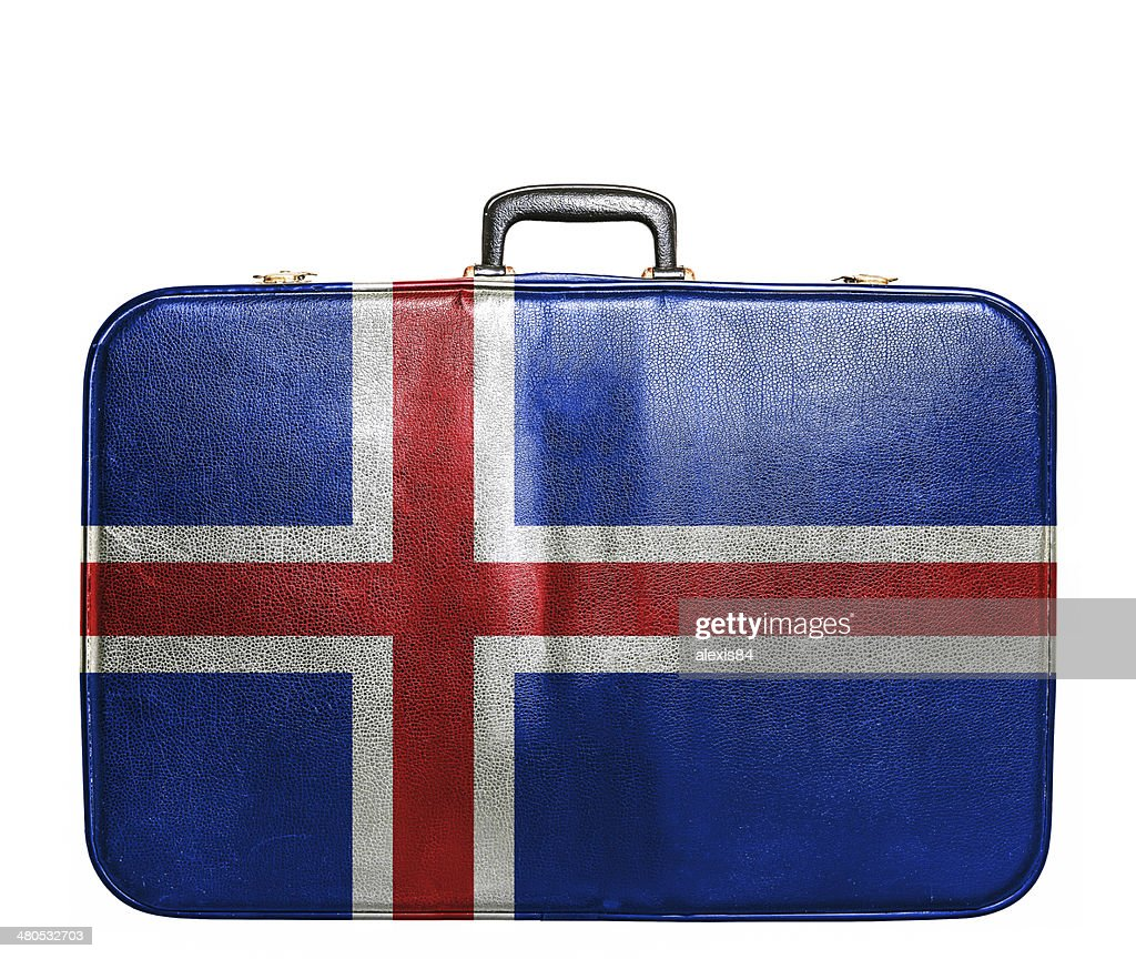 Vintage travel bag with flag of Iceland : Stock Photo