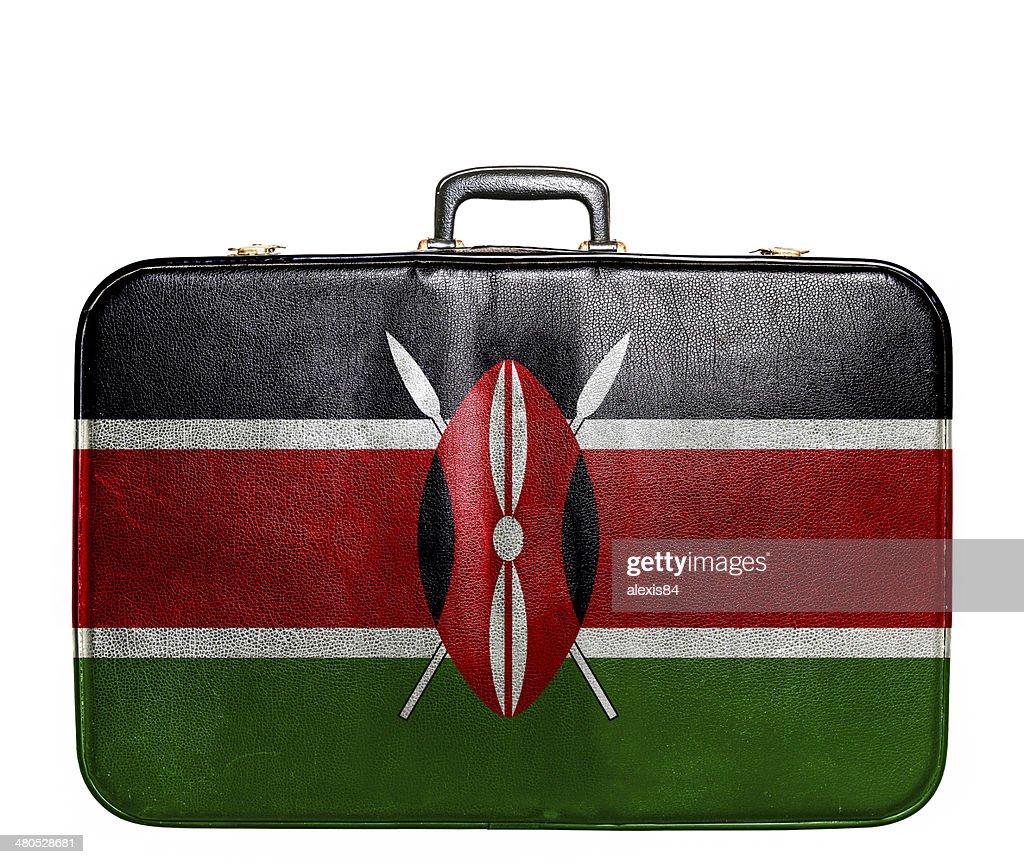 Vintage travel bag with flag of Kenya : Stock Photo