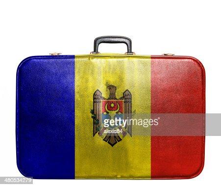 Vintage travel bag with flag of Moldavia : Stockfoto