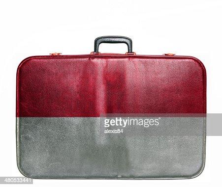 Vintage travel bag with flag of Monaco : Bildbanksbilder
